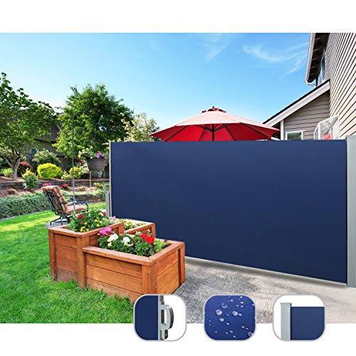 CCLIFE Seitenmarkise Ausziehbar Sichtschutz Windschutz Sonnenschutz TÜV mit Alu-Rolle, Farbe:Blau, Größe:180x300cm