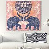 Lienzo con pareja de elefantes fondo rosa. Tapiz floral de adorno rosa