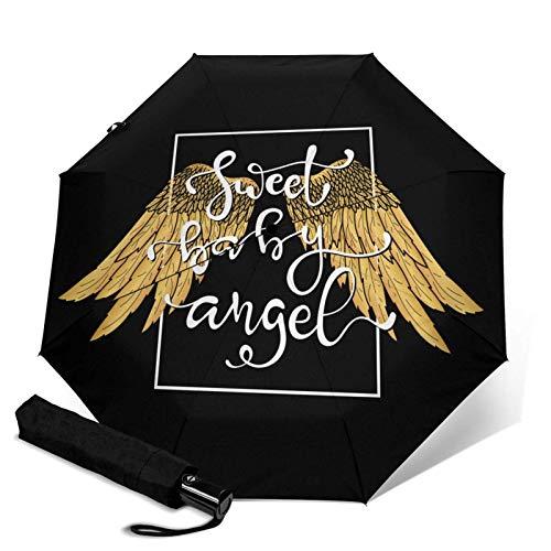 Sombrilla con alas dibujadas a mano y letras automáticas de tres pliegues
