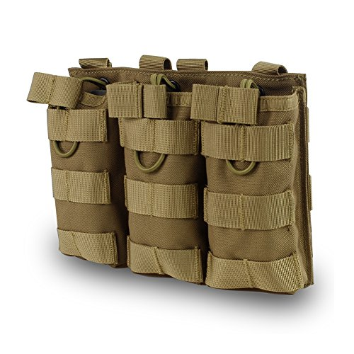 Outry M4 M16 AR-15 Type Magazine Pouch Mag Holder - Triple/Double/Single Airsoft MOLLE Mag Pouch - Open Top Version - Triple - Tan/Coyote Brown