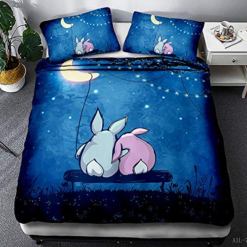 TYFEI Bedding Duvet Cover 3D Moon rabbit Printed Quilt Duvet Cover with Zipper Closure, Soft Microfiber Bedding 140x200cm