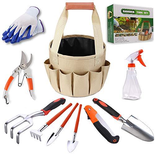 RAIN QUEEN Gartenwerkzeug Garten-Set Gartengeräte Set Gartenwerkzeuge mit Gartenhandschuhen (Kelle, Transplanter, Weeder, Handrechen, Handgabel) und Gartentasche(10 Stück)