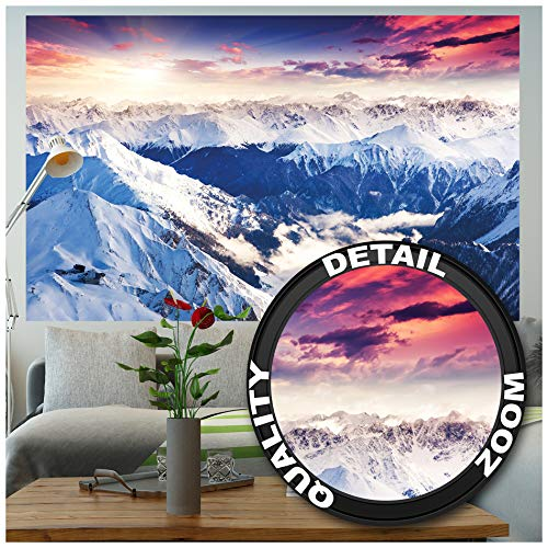 GREAT ART XXL Poster – Alpen Panorama – Wandbild Dekoration Winter Sonnenuntergang Schnee Landschaft Natur Berge Gletscher Gebirge Gipfel Wandposter Fotoposter Wanddeko Bild (140 x 100 cm)