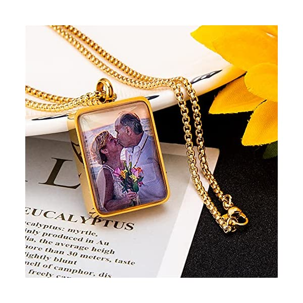Fanery Sue Personalized Photo Cremation Urn Necklace for Ashes Custom Engraving Pendant Memorial Keepsake Jewelry with Filling Tool(Rectangle- Golden)