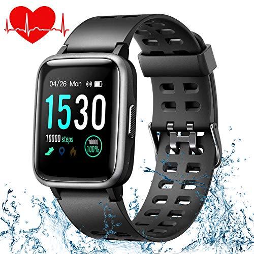 ONSON Smartwatch,Fitness Tracker Wasserdicht IP68 Fitness Armband Uhr für Damen Herren Kinder, Sportuhr mit Schrittzähler,Pulsuhr,1.3-Zoll Sportuhren für iOS Android Handy (Schwarz)