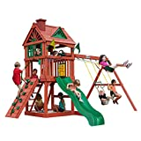 Gorilla Playsets 01-0021 Nantucket Wood Swing Set with Wood Roof, Two...