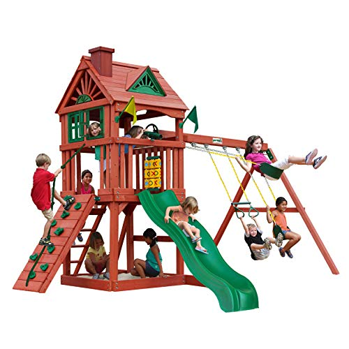 Gorilla Playsets 01-0021 Nantucket Wood Swing Set with Wood Roof, Two Swings, Slide, Sandbox Area, Rock Wall, Redwood