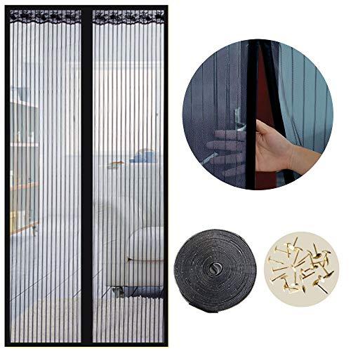 Cortina Mosquitera Magnética para Puertas, 80 x 200cm, Anti Insectos Moscas y Mosquitos, con Imanes Cierre Automático y Velcro Adhesiva, para Puertas Correderas/Balcones/Terraza(Negro)