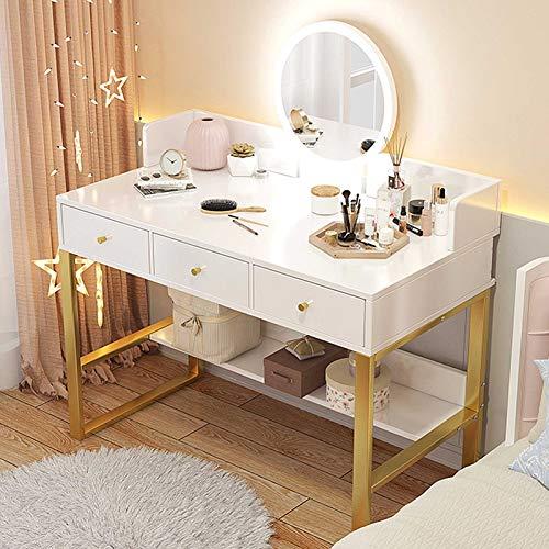 LIUSU-Walker Tocador Blanco con Cajones Mesa De Maquillaje, Tocador De Dormitorio con Luces LED, Espejo Y Estante De Almacenamiento De Joyas De 100 Cm