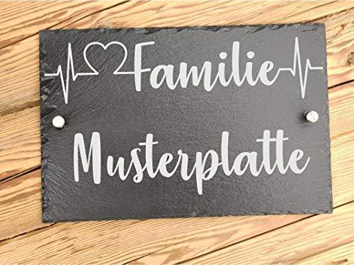 Haus-Türschild individuelle personalisiert aus Schiefer mit Familiennamen | Namensschild für den Eingangsbereich | Hausschilder aus Schiefer 20 x 30 cm | Geschenk zum Einzug