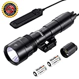 Wurkkos Tactical Flashlight, Professional Gun Flashlight Cree XPL 1000 Lumens Weapon Light with Remote Pressure Switch and High/Low/Strobe with CR123A Battery for Hunting Adventure Etc.