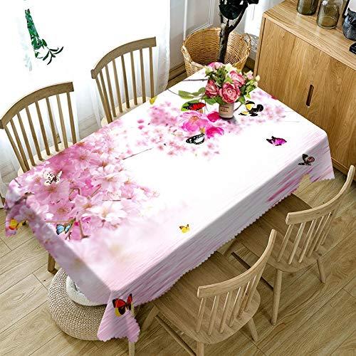 XXDD Mantel Rectangular Impermeable de Flores de Lirio Lila púrpura Exquisito 3D para decoración de Mesa de Cocina Mantel A4 140x160cm