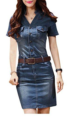 Bestfort Damen Jeanskleid V-Ausschnitt Retro Denim Kleid Blusekleid Cocktail T Shirt Kleid Kurze Ärmel Knopf Sommerkleider Dress Mit Gürtel