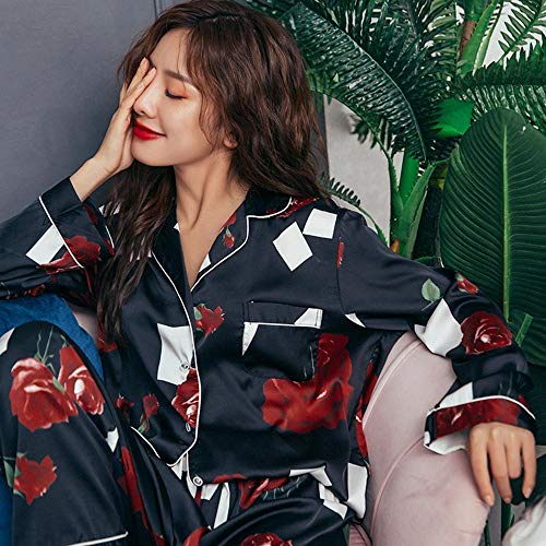 Schlafanzug Rose Print Silk Pyjama Sets Für Frauen Langarm Nachtwäsche Oversize...