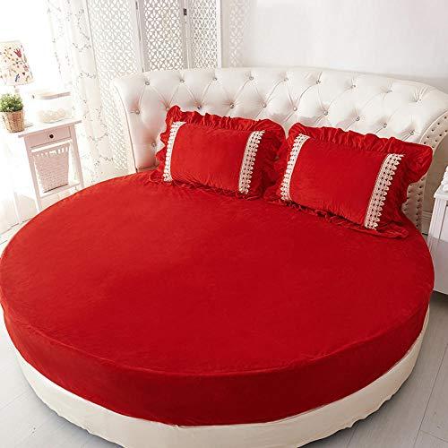HPPSLT Protector de colchón/Cubre colchón Acolchado de Fibra antiácaros, Transpirable, Sábana de Cama Redonda Engrosada algodón-Rojo-Single Layer_2m