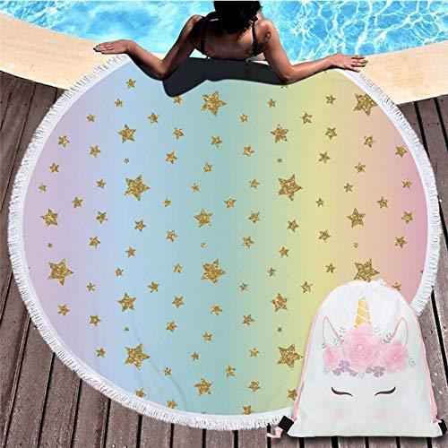 Vioyo Strandhanddoek van microvezel uit de serie Eenhoorn Animation Cartoon met rugzak met trekkoord sporttas yoga-deken zwemmen