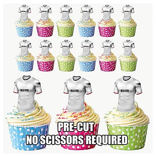 prédécoupés Ulster Rugby Chemises comestible pour cupcakes/gâteau Décorations (lot de 12)