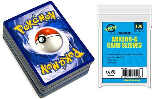 Pokemon 100 Karten Sammlung SPARSET - ENGLISCH - (95 Kreis / Karo, 3 Stern, 2 Holos) + Arkero-G® Standard Soft Sleeves (100 Kartenhüllen)