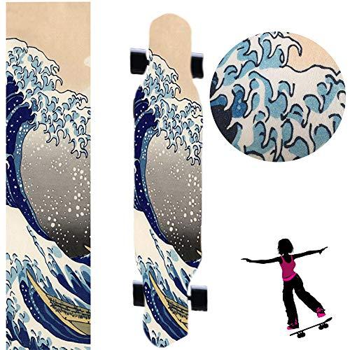 """47""""X10"""" Skateboard Longboard Dancing Board Waterproof Diamond Griptape Sheet Sticker Deck Sandpaper (Sea Wave)"""