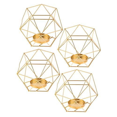 FLAMEER 4pcs 3D Geometrische Hochzeit Kerzenständer Votivkerzen Teelichthalter Golden