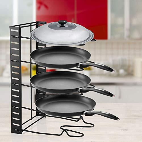 Ausla Saucepan Shelf, Pan Stand Free Standing Pot Storage Rack Metal Lids Holder for Kitchen
