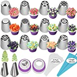 27Pcs Russian Piping Tips Set,Flower Frosting Tips For Cake Cupcake Decorating,12Russian Icing...