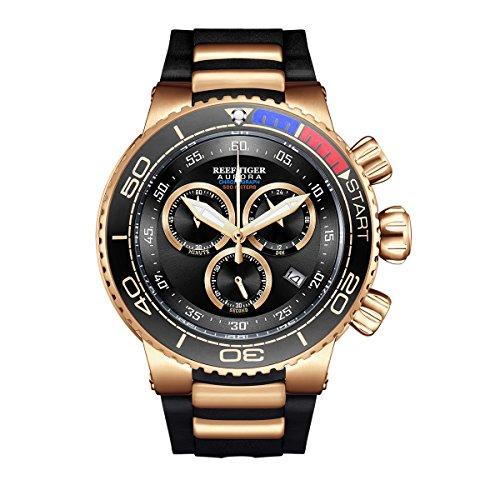REEF TIGER Herren Uhr analog Quartz mit Kautschuk Armband RGA3168-PBB