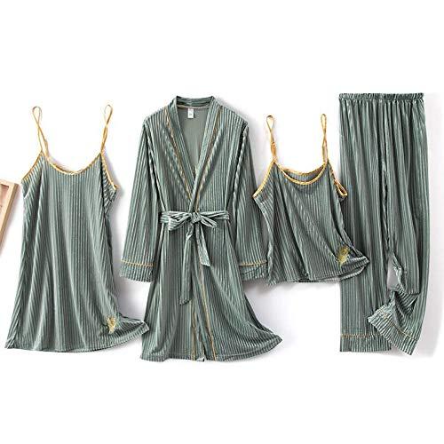 FSJE Mujeres Ropa de Dormir cálida Ropa para el hogar 4 Piezas de Pijamas de Color para Mujer, Conjunto de Pijamas y camisón, lencería Sexy para Novia, Regalo de Boda, Ropa para el hogar, Pijamas