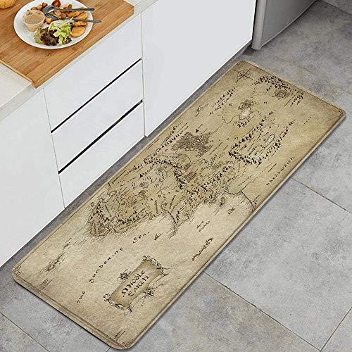 QINCO Anti Fatiga Cocina Alfombra del Piso,Mapa del Señor del Anillo de la Tierra Media,Antideslizante Acolchado Puerta Habitación Bañera Alfombra Almohadilla,120 x 45cm