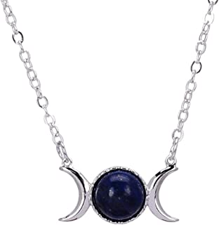 Astral Triple Goddess Moon Pendant Necklace Healing Crystal Natural Stone Sailor Moon Necklace