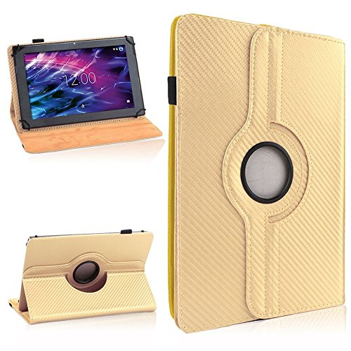 NAUC Medion Lifetab P7331 P7332 E7331 Tablet Tasche Hülle Cover Case Carbon-Look 360°, Farben:Gold