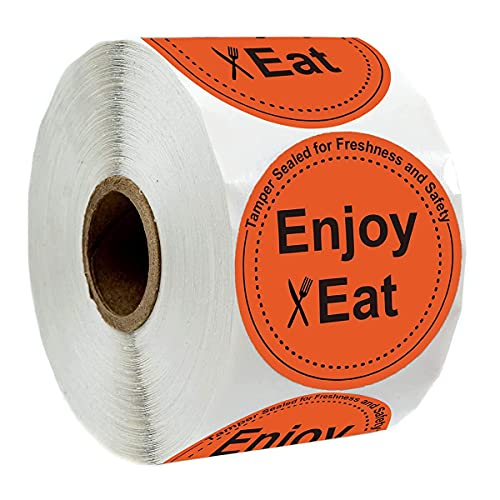 YOUOK Enjoy Eat Food Delivery Tamper Evident Stickers,2 Inch Package Stickers Adhere to Candy Cookie Package Freshness Labels for Food Package,Food Delivery and Takeout Containers(500Pcs/Roll