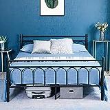 Alecono Cama doble con estructura de cama de plataforma de metal con cabecero de estilo vintage negro