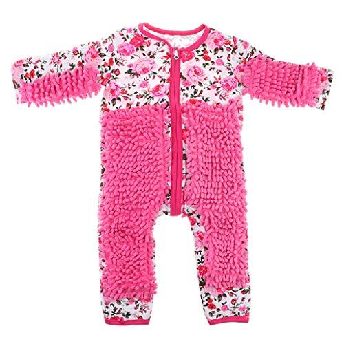 Traje de mameluco de bebé para niños pequeños pule pisos limpieza ropa de traje - rosa rojo, 90 cm rosa rojo 90 cm