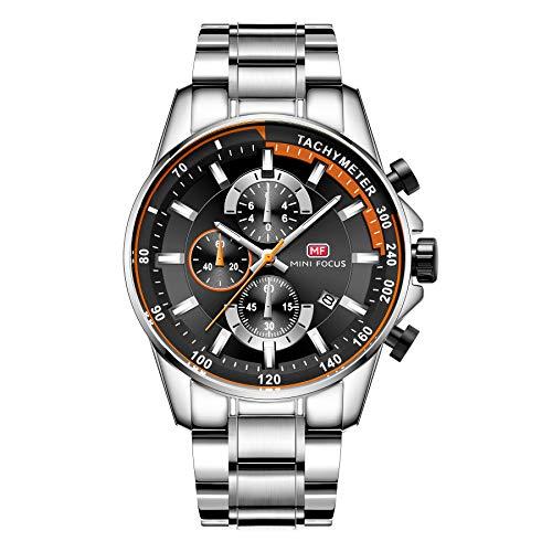 Mini Focus - Reloj analógico de cuarzo de acero inoxidable para hombre, estilo casual, para hombre de negocios, deportivo, 3ATM resistente al agua, cronógrafo para hombres