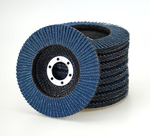 10 Stück Fächerscheiben INOX blau Korn 60 – Ø 125 mm/INOX Fächerscheiben/Schleifmopteller/Fächerschleifscheibe/Winkelschleifer