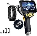 Amailtom 1080P Cámara Endoscopio Doble Lente,HD Cámara de Inspección Industrial 8mm Endoscopio de Tubería Impermeable IP67 con 4,3 Pulgadas Pantalla IPS,6 Luces LED y 5m Cable Semi-rígido
