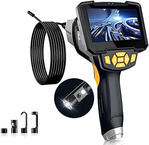 Amailtom 1080P Endoscopio Industriale HD,8mm Doppia Lente Telecamera di Ispezione con 4,3 Pollici Schermo IPS,Boroscopio Telecamera per Tubi Impermeabile IP67, 6 Luci LED e 5m Semirigido Cavo