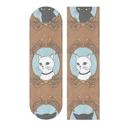 MNSRUU Skateboard-Griptape 1 Stück lustiges Retro Katzen Blatt Scooter Deck Sand Papier 22,9 x 83,8 cm