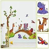 CYAuang Wandtattoos Abnehmbare Cartoon Wandaufkleber Kinderzimmer Kindergarten Kreative Wandaufkleber Animal Crossing Bridge 60 * 90Cm