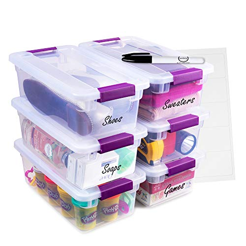 Sterlite 6 Quart Clear Storage Containers with Plum Latches 12-Pack with Marker and lables