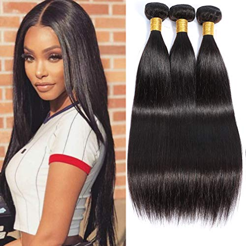 8A Brazilian Straight Weave Human Hair 3 Bundles(300G),100% Unprocessed Virgin Hair Bundles For Black Women Can Be Dyed Natural Color (20 22 24)