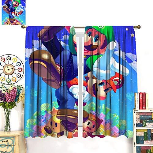 Petpany Super Mario Adventure Comic Game Decoración de cortina de lujo, 183 x 160 cm, hermosa decoración de habitación y ajustes convenientes. Cortinas de dormitorio