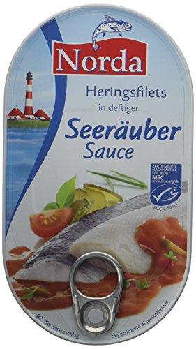Norda Heringsfilets Seeräuber, 13er Pack Konserven, Fisch in Gurken-Paprikasauce