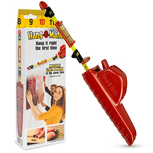 Hang-O-Matic All-in-One Picture Hanging Tool, Picture Hanger, Picture Frame Level Ruler, Perfect to Hang Pictures, Mirrors, TVs, and Shelves