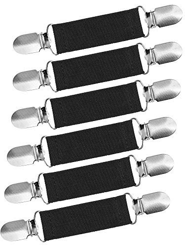 Ruisita 6 Pieces Fashion Fit Dress Clips Stainless Steel Elastic Clip Garments Glove Clips (Black)