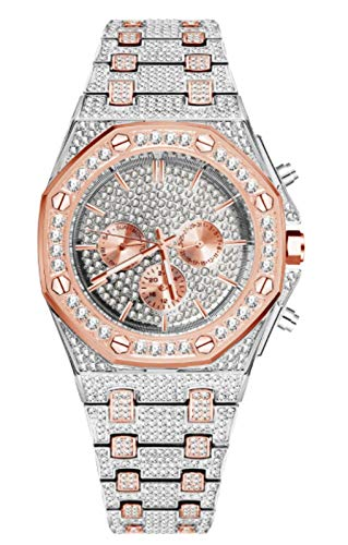 MLHXHX Reloj de moda para hombre, estilo hip hop, con diamantes completos y esfera octogonal, resistente al agua, de cuarzo, adecuado para disfraz de Halloween, fiesta, rosa media