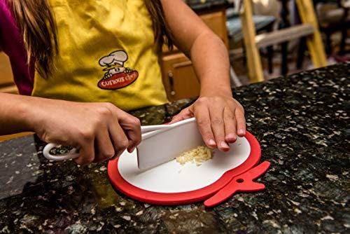 Product Image 1: Curious Chef Kids Cookware – Knife I Real Utensils, Dishwasher Safe, BPA-Free I Kid-Safe I Cuts Fruits & Vegetables I Medium, White/Green