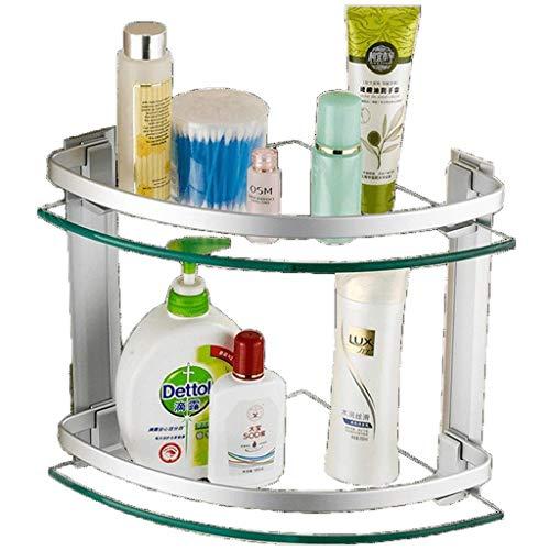 KAYBELE Espacio Aluminio baño Estante Cuarto de baño Estante Doble Vidrio trípode trípode