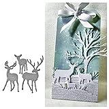 periwinkLuQ Schablone aus Metall, Weihnachts-Hirschform, DIY Scrapbooking, Album, Basteln, Dekoration, silberfarben